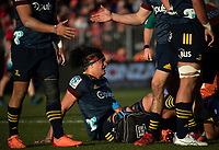 Pari Pari Parkinson has an injury tended to during the 2020 Super Rugby match between the Crusaders and Highlanders at Orangetheory Stadium in Christchurch, New Zealand on Saturday, 9 August 2020. Photo: Joe Johnson / lintottphoto.co.nz