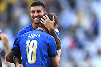 Nicolo Barella of Italy celebrates with Lorenzo Pellegrini after scoring the goal of 1-0 during the Uefa Nations League 3rd and 4th place final football match between Italy and Belgium at Juventus stadium in Torino (Italy), October 10th, 2021. Photo Image Sport / Insidefoto