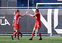 Lisa Petry (21) of Standard  pictured celebrating after scoring a goal during a female soccer game between Club Brugge Dames YLA and Standard Femina de Liege on the 17 th matchday of the 2020 - 2021 season of Belgian Scooore Womens Super League , saturday 20 March 2021  in Brugge , Belgium . PHOTO SPORTPIX.BE   SPP   DAVID CATRY