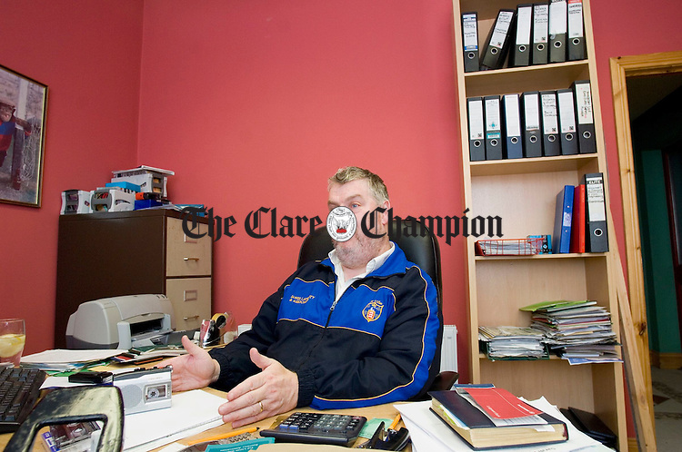 James Lafferty being interviewed in his office at home in Doora. Photograph by John Kelly.