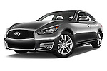 Stock pictures of low aggressive front three quarter view of 2018 Infiniti Q70 Hybrid 4 Door Sedan Low Aggressive