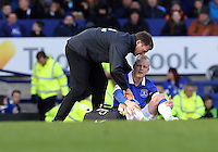 Pictured: Steven Naismith of Everton injured on the ground. Sunday 16 February 2014<br /> Re: FA Cup, Everton v Swansea City FC at Goodison Park, Liverpool, UK.