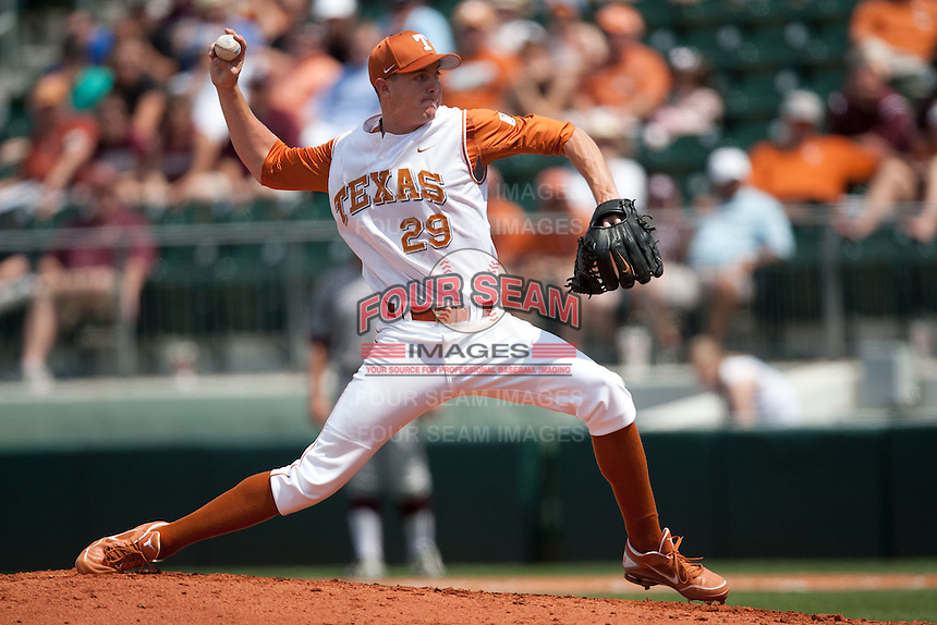 Texas Longhorns pitcher Corey Knebel #29 delivers during the NCAA baseball game against the Texas A&M Aggies on April 29, 2012 at UFCU Disch-Falk Field in Austin, Texas. The Longhorns beat the Aggies 2-1 in the last ever regular season game scheduled for the long time rivals. (Andrew Woolley / Four Seam Images)