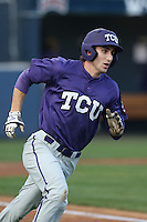 Jeremie Fagnan (32) of the TCU Horned Frogs runs the bases during a game against the Loyola Marymount Lions at Page Stadium on March 16, 2015 in Los Angeles, California. TCU defeated Loyola, 6-2. (Larry Goren/Four Seam Images)