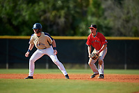 Ball State Cardinals shortstop Ryan Peltier (7) holds base runner Alex Kriss (2) on during a game against the Mount St. Mary's Mountaineers on March 9, 2019 at North Charlotte Regional Park in Port Charlotte, Florida.  Ball State defeated Mount St. Mary's 12-9.  (Mike Janes/Four Seam Images)
