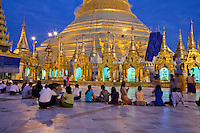Myanmar, Burma.  Shwedagon Pagoda Illuminated at Night, Yangon, Rangoon.
