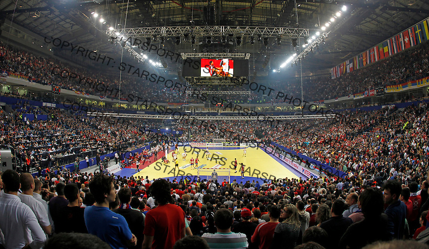 General overview of Belgrade Arena during men`s EHF EURO 2012 championship semifinal handball game between Serbia and Croatia in Belgrade, Serbia, Friday, January 27, 2011.  (photo: Pedja Milosavljevic / thepedja@gmail.com / +381641260959) arena total
