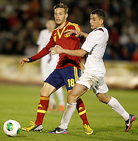 Spain's Sergio Canales (l) and Norway's Elabdellaoui during international sub21 match.March 21,2013. (ALTERPHOTOS/Acero) /NortePhoto