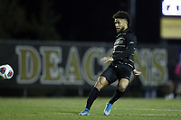 WINSTON-SALEM, NC - DECEMBER 07: Michael DeShields #5 of Wake Forest University passes the ball during a game between UC Santa Barbara and Wake Forest at W. Dennie Spry Stadium on December 07, 2019 in Winston-Salem, North Carolina.
