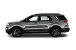 Car driver side profile view of a 2018 Ford Explorer XLT 5 Door SUV