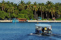 Dhoni boat transporting passengers to palm covered beach, Maldives.