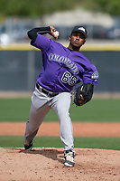 Colorado Rockies relief pitcher Juan Pena (66) during a Minor League Spring Training game against the Los Angeles Angels at Tempe Diablo Stadium Complex on March 18, 2018 in Tempe, Arizona. (Zachary Lucy/Four Seam Images)