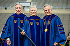 May 23, 2021; Former University of Notre Dame provost Thomas G. Burish poses for a photo with Notre Dame Board of Trustees Chairman John Brennan, left, and Notre Dame President Rev. John I. Jenkins, C.S.C. after being awarded an honorary degree at the 2021 Notre Dame Commencement ceremony. (Photo by Matt Cashore/University of Notre Dame)