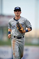 West Michigan Whitecaps left fielder Danny Woodrow (8) jogs back to the dugout during the first game of a doubleheader against the Lake County Captains on August 6, 2017 at Classic Park in Eastlake, Ohio.  Lake County defeated West Michigan 4-0.  (Mike Janes/Four Seam Images)