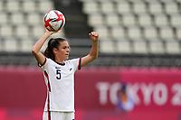 KASHIMA, JAPAN - JULY 27: Kelley O'Hara #5 of the United States throw in during a game between Australia and USWNT at Ibaraki Kashima Stadium on July 27, 2021 in Kashima, Japan.