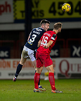 19th December 2020; Dens Park, Dundee, Scotland; Scottish Championship Football, Dundee FC versus Dunfermline; Jordan McGhee of Dundee competes in the air with Steven Whittaker of Dunfermline Athletic