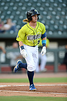 Seconed baseman Nick Conti (21) of the Columbia Fireflies bats runs out a batted ball in a game against the Hickory Crawdads on Wednesday, August 28, 2019, at Segra Park in Columbia, South Carolina. Hickory won, 7-0. (Tom Priddy/Four Seam Images)