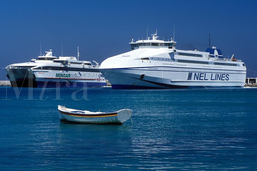 Mykonos, ferry, Greek Islands, Cyclades, Greece, Europe, Ferries docked in the harbor on Mykonos Island on the Aegean Sea.