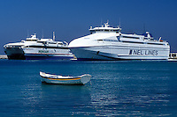 Mykonos, ferry, Greek Islands, Cyclades, Greece, Europe, Ferries docked in the harbor on Mykonos Island on the Aegean Sea.