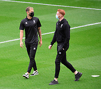 Lincoln City's Jorge Grant, left, and Lincoln City's Callum Morton prior to the game<br /> <br /> Photographer Chris Vaughan/CameraSport<br /> <br /> Carabao Cup Second Round Northern Section - Bradford City v Lincoln City - Tuesday 15th September 2020 - Valley Parade - Bradford<br />  <br /> World Copyright © 2020 CameraSport. All rights reserved. 43 Linden Ave. Countesthorpe. Leicester. England. LE8 5PG - Tel: +44 (0) 116 277 4147 - admin@camerasport.com - www.camerasport.com
