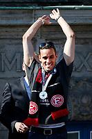 Duesseldorf, Germany, 2. Bundesliga, promotion to 1. Bundesliga of  Fortuna Duesseldorf, team celebrates at Rathausmarkt of Duesseldorf, 14.05.2018<br /> Raphael WOLF (F 95) <br /> *** Local Caption *** © pixathlon<br /> Contact: +49-40-22 63 02 60 , info@pixathlon.de