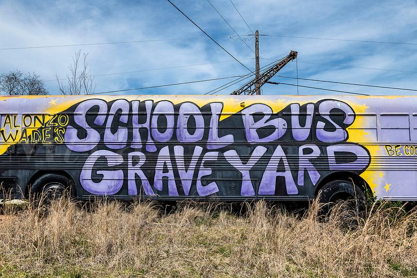 Alonzo Wade's School Bus Graveyard, Alto, Georgia.