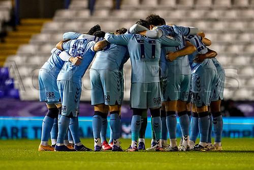 20th November 2020; St Andrews Stadium, Coventry, West Midlands, England; English Football League Championship Football, Coventry City v Birmingham City; Coventry City huddle before the game