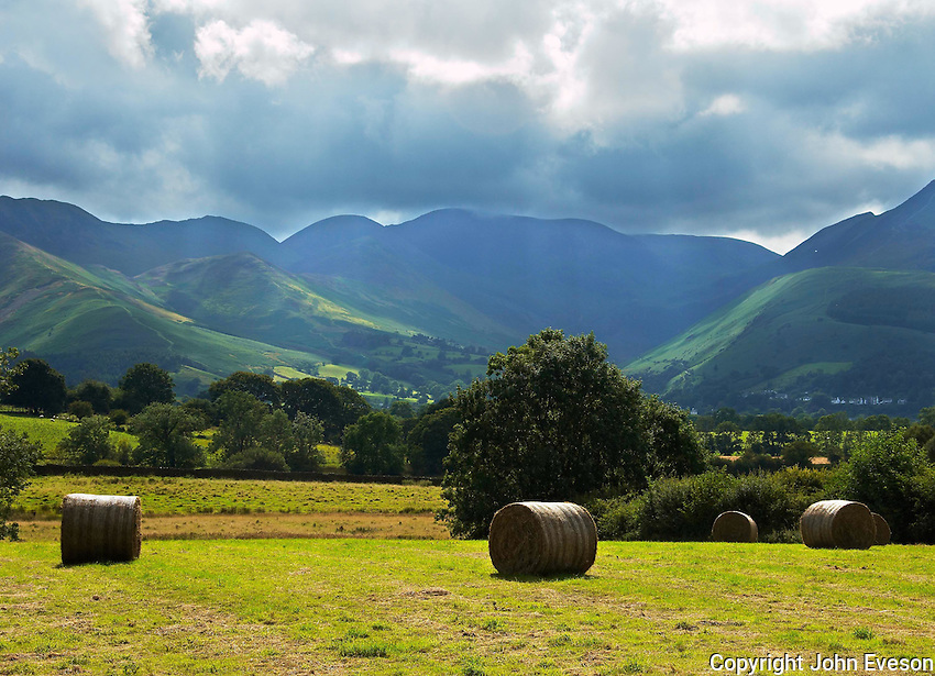 Hay bales and view, Lake District.