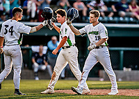 20 June 2021: Vermont Lake Monsters outfielder Sky Rahill (18), from Burlington, VT, returns to the dugout after hitting his 8th inning home run during a game against the Westfield Starfires at Centennial Field in Burlington, Vermont. Rahill went 1 for 2 with his homer accounting for all the team scoring as the Lake Monsters fell to the Starfires 10-2 at Centennial Field, in Burlington, Vermont. Mandatory Credit: Ed Wolfstein Photo *** RAW (NEF) Image File Available ***