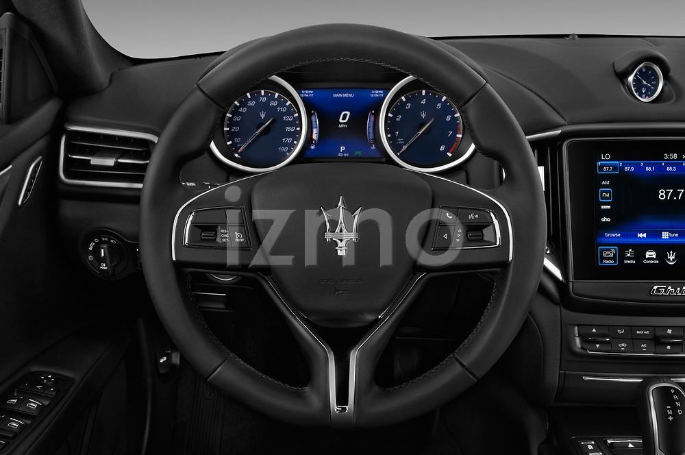 Car pictures of steering wheel view of a 2018 Maserati Ghibli Base 4 Door Sedan