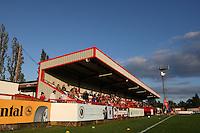 The main stand at Boreham Wood Football Club - Arsenal Ladies vs Lincoln Ladies - FA Women's Super League Football at Boreham Wood FC - 04/08/11 - MANDATORY CREDIT: Gavin Ellis/TGSPHOTO - Self billing applies where appropriate - 0845 094 6026 - contact@tgsphoto.co.uk - NO UNPAID USE.