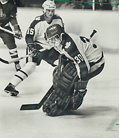 1983 FILE PHOTO - ARCHIVES -<br /> <br /> Goalie hot: Vincent Tremblay was the star of last night's game against Quebec and probably earned himself a spot on the regular-season roster. Tremblay has played well in pre-season.<br /> <br /> 1983<br /> <br /> PHOTO :  Frank Lennon - Toronto Star Archives - AQP