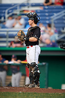 Batavia Muckdogs catcher J.D. Osborne (23) during a game against the Lowell Spinners on July 16, 2018 at Dwyer Stadium in Batavia, New York.  Lowell defeated Batavia 4-3.  (Mike Janes/Four Seam Images)