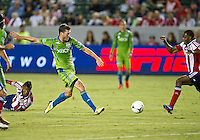CARSON, CA - August 25, 2012: Seattle midfielder Brad Evans (3) during the Chivas USA vs Seattle Sounders match at the Home Depot Center in Carson, California. Final score, Chivas USA 2, Seattle Sounders 6.