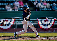 20 June 2021: Westfield Starfires outfielder Cole Bartels, from Arlington, MA, in action against the Vermont Lake Monsters at Centennial Field in Burlington, Vermont. The Starfires defeated the Vermont Lake Monsters 10-2 at Centennial Field, in Burlington, Vermont. Mandatory Credit: Ed Wolfstein Photo *** RAW (NEF) Image File Available ***