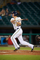 Montgomery Biscuits shortstop Michael Russell (12) follows through on a swing during a game against the Mississippi Braves on April 26, 2017 at Montgomery Riverwalk Stadium in Montgomery, Alabama.  Montgomery defeated Mississippi 5-2.  (Mike Janes/Four Seam Images)