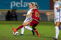 England's Isabel Chrisriansen Spain's Amanda Sampedro during the frendly match between woman teams of  Spain and England at Fernando Escartin Stadium in Guadalajara, Spain. October 25, 2016. (ALTERPHOTOS/Rodrigo Jimenez) /NORTEPHOTO.COM