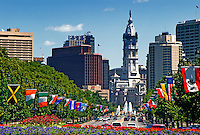 City Hall and Ben Franklin Parkway with international flags, Philadelphia, Pennsylvania