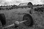 Second World War army military vehicles, cars dumped in French landscape. 1960s Normandy France. 1967