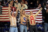GENOVA, ITALY - February 29, 2012: USA fans during the USA friendly match against Italy at the Stadium Luigi Ferraris in Genova, Italy.