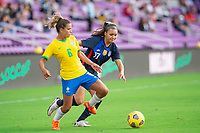 ORLANDO CITY, FL - FEBRUARY 21: Sophia Smith #17 of the USWNT battles for the ball during a game between Brazil and USWNT at Exploria Stadium on February 21, 2021 in Orlando City, Florida.