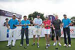 Paul Scholes (second from right) at the 1st hole at the World Celebrity Pro-Am 2016 Mission Hills China Golf Tournament on 21 October 2016, in Haikou, China. Photo by Weixiang Lim / Power Sport Images
