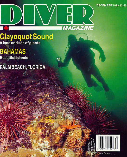 """DIVER Magazine Cover Story - """"Clayoquot Sound - A Land and Sea of Giants"""".  Written and Photographed by Dale Sanders.  2000 Word Article and Photos."""