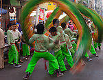 A dragon dance troupe celebrates the Lunar New Year in Yangon, Myanmar. It is a gesture to pay respect to the the Chinese temples in the area.