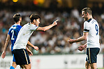 Tottenham Hotspur Forward Heung-Min Son (L) celebrating a score with Tottenham Hotspur Forward Vincent Janssen (R) during the Friendly match between Kitchee SC and Tottenham Hotspur FC at Hong Kong Stadium on May 26, 2017 in So Kon Po, Hong Kong. Photo by Man yuen Li  / Power Sport Images