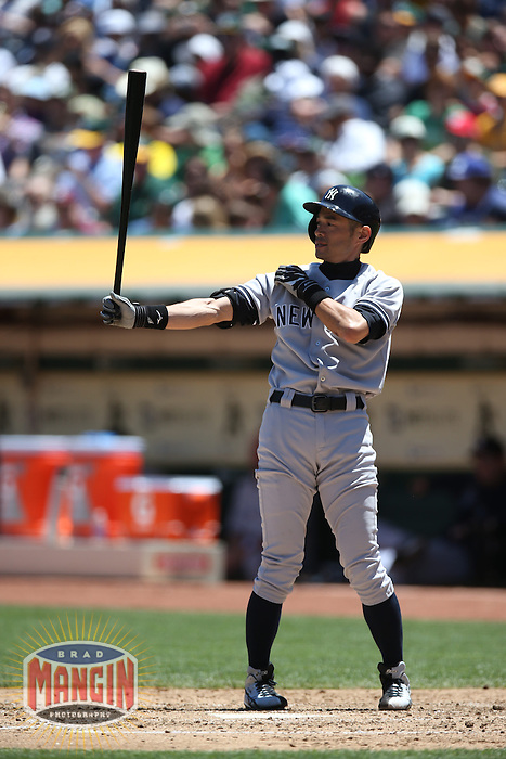 OAKLAND, CA - JUNE 13:  Ichiro Suzuki #31 of the New York Yankees bats against the Oakland Athletics during the game at O.co Coliseum on Thursday June 13, 2013 in Oakland, California. Photo by Brad Mangin
