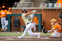 Vanderbilt Commodores third baseman Jayson Gonzalez (99) at bat against the Tennessee Volunteers on Robert M. Lindsay Field at Lindsey Nelson Stadium on April 17, 2021, in Knoxville, Tennessee. (Danny Parker/Four Seam Images)