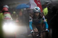 François Bidard (FRA/AG2R La Mondiale) up the extremely wet, cold & misty Cole di Mortirolo <br /> <br /> Stage 16: Lovere to Ponte di Legno (194km)<br /> 102nd Giro d'Italia 2019<br /> <br /> ©kramon