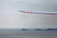 The Red Arrows perform during the Swansea Airshow 2019 over Swansea Bay, Wales, UK. Sunday 07 July 2019