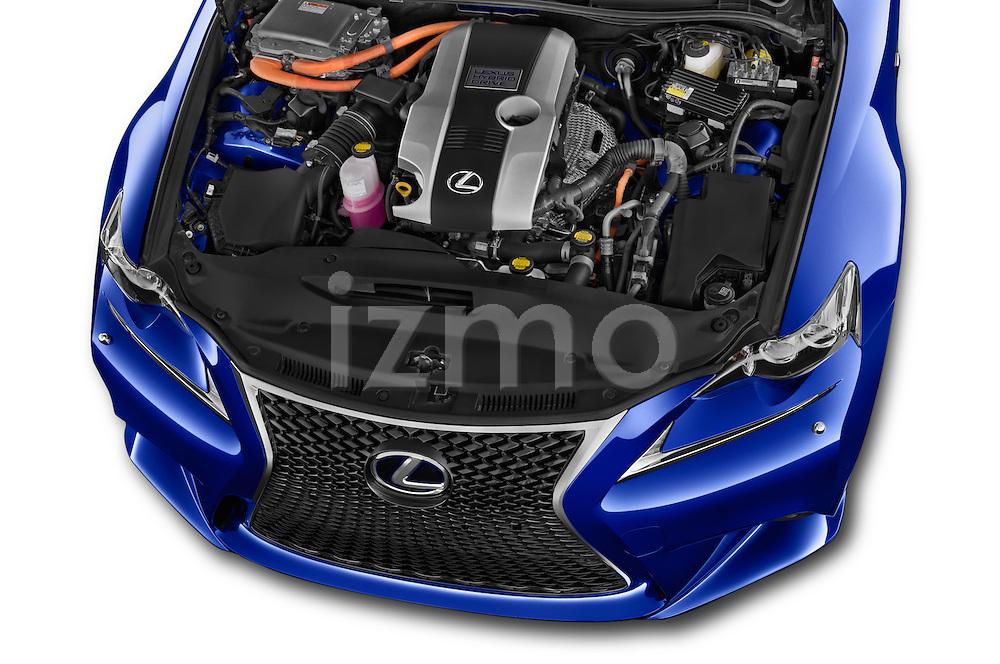 Car Stock 2015 Lexus IS F SPORT LINE 4 Door Sedan Engine high angle detail view